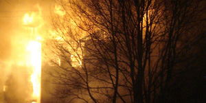 В деревне Вяхтелево горел дом